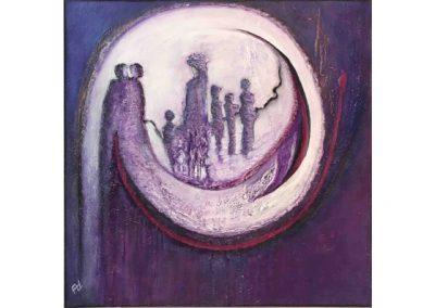 Schilderij met maan zon figuren