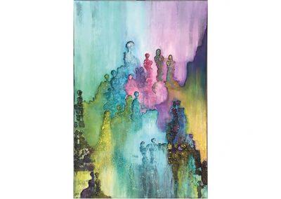 Kleurrijk schilderij mensen