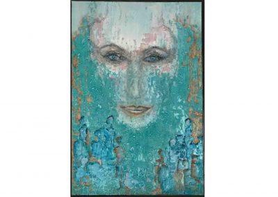Schilderij turquoise met gezicht spiritueel
