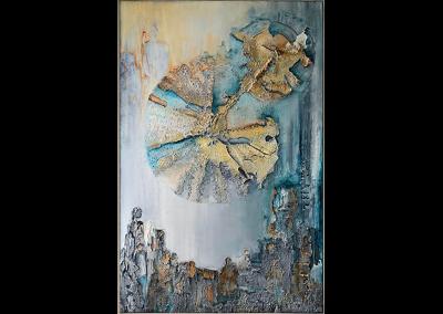 Schilderij abstracte stad met relief